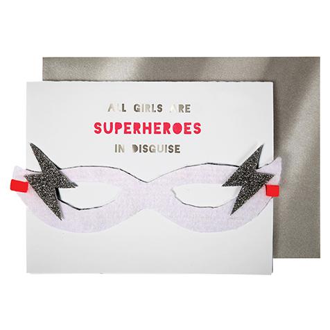 Carte postale joyeux anniversaire super h ros fille meri meri la collection - Carte anniversaire super heros ...