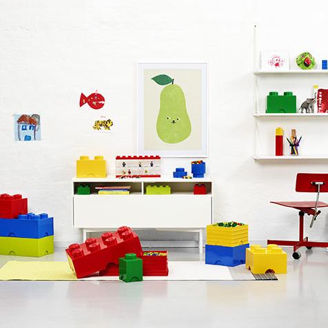 boite de rangement empilable 4 plots blanche lego la collection. Black Bedroom Furniture Sets. Home Design Ideas