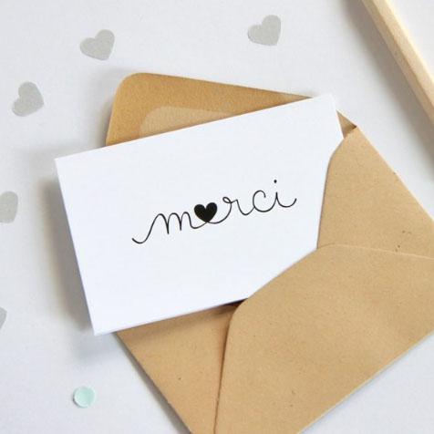 Mini Carte Postale Merci Coeur Blanc Zu