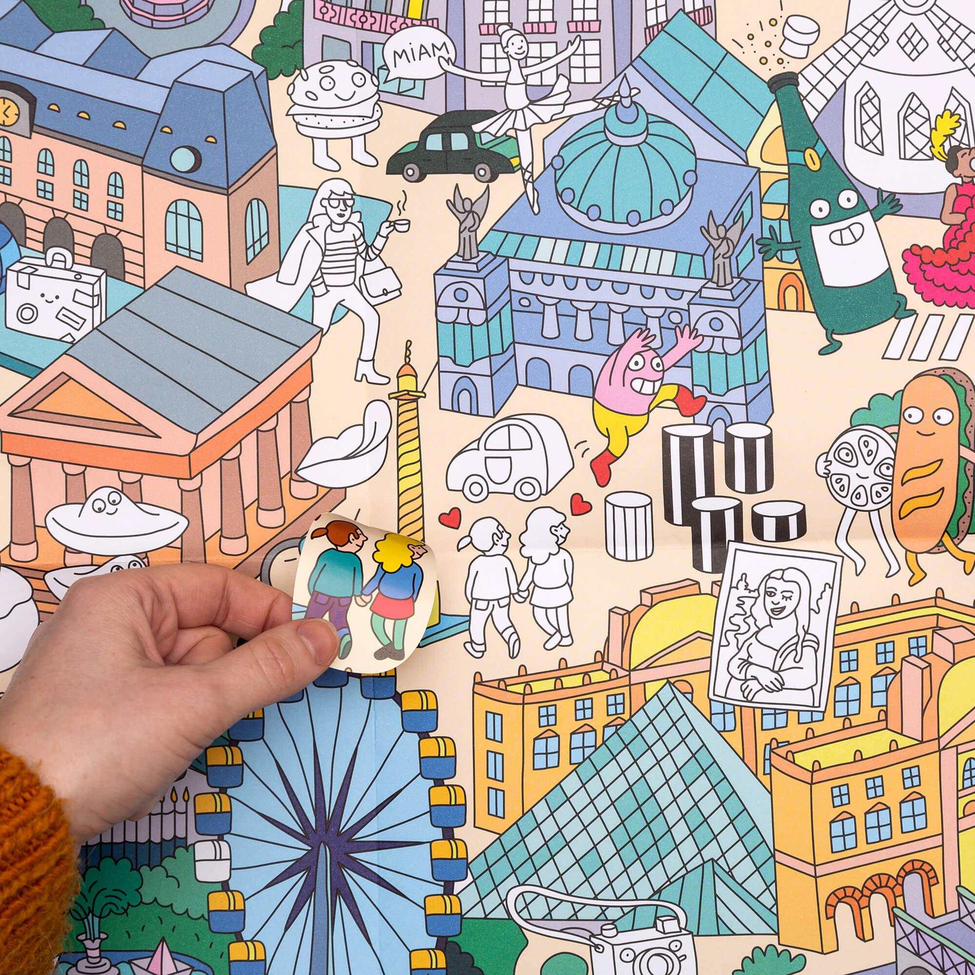 Poster à Colorier Géant Stickers Paris By Omy